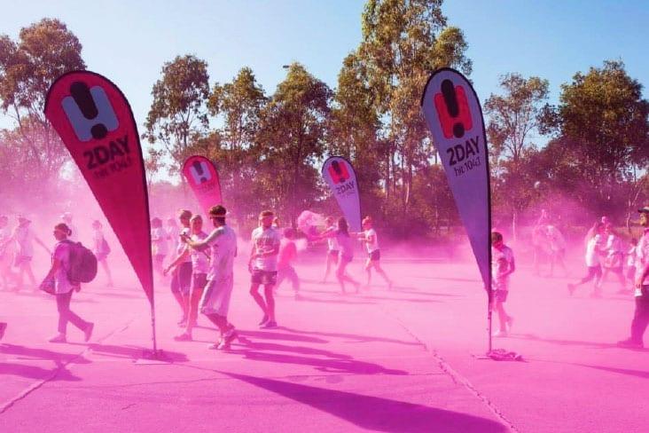 Teardrop banners - pink